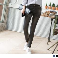 0518新品 個性刷白抓破顯瘦牛仔窄管褲.2色