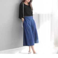 0522新品 造型圖騰釦環腰帶片裙設計九分牛仔寬褲