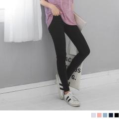 0815新品 素色立體車線設計腰圍鬆緊彈力窄管褲.3色