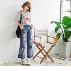 0518新品 質感牛仔刷色割破設計抽鬚造型寬版褲