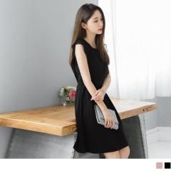 0525新品 素色後綁帶設計透膚荷葉袖造型傘襬雪紡洋裝.2色