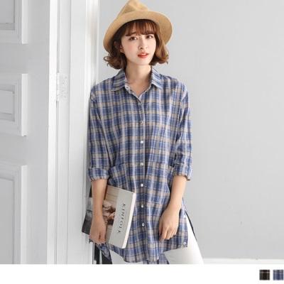 配色格紋側襬排釦設計雙口袋長版襯衫/罩衫.2色
