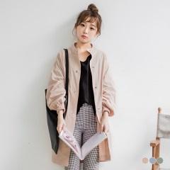 素色高含棉澎澎縮口袖中長版立領風衣外套.3色