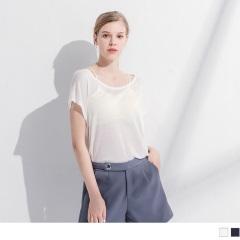 0419新品 素色柔軟針織透膚感圓領短袖罩衫/上衣.2色