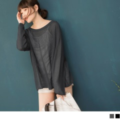 0419新品 針織鏤空透膚圓領落肩寬鬆長袖上衣.2色