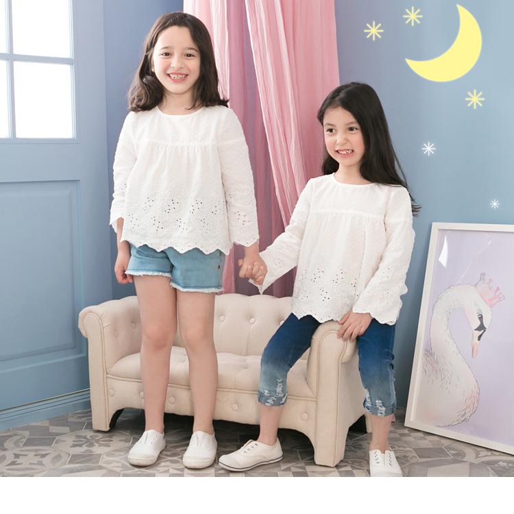 立體點點緹花設計七分袖上衣‧童1色