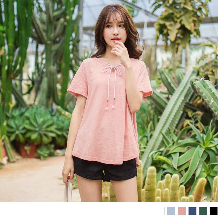 高棉量素色繡線綁帶造型開衩領寬鬆上衣.6色