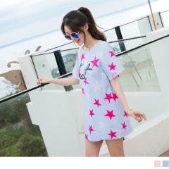 0606新品 拼色星星印花高棉量反折袖長版上衣/洋裝.2色