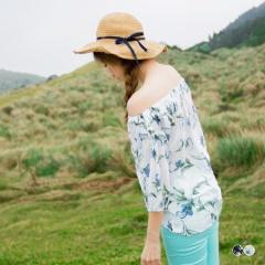 【消暑狂降$189up】手繪風花朵印花鬆緊一字領綴綁帶七分袖上衣.2色