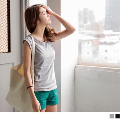 0613新品 高棉量純色合身寬肩背心.2色