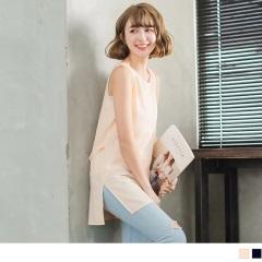 0418新品 後腰造型裝飾側襬開衩純色雪紡長版背心.2色