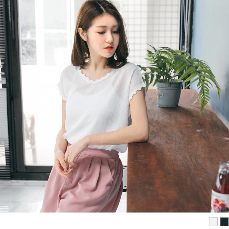 刺繡蕾絲滾邊純色壓皺質感連袖上衣.2色