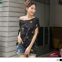 台灣製造.潑漆點綴星星燙印竹節棉蝙蝠連袖上衣.3色