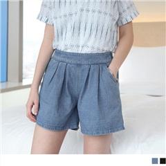 0614新品 率性必備~寬版仿牛仔打褶後鬆緊短褲.2色