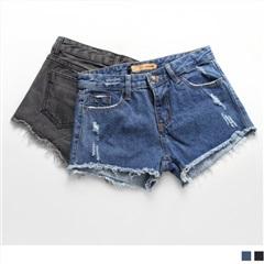 美式率性.破損抽鬚造型牛仔短褲.2色