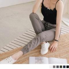 0620新品 素色口袋車線造型抽繩設計高含棉縮口哈倫褲.6色