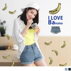 0615新品 童趣香蕉刺繡褲腳反折高棉量牛仔短褲.2色