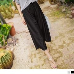 0621新品 腰圍鬆緊直條壓紋涼感垂綴素色七分寬褲.2色