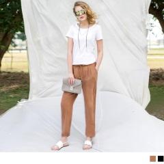0420新品 垂墜風打褶腰鬆緊綁帶窄管長褲.2色