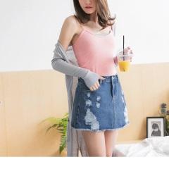 0616新品 經典牛仔個性刷破造型短褲裙
