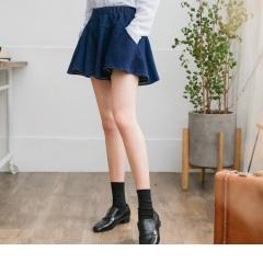 0711新品 質感素色腰圍鬆緊傘襬剪裁寬鬆牛仔短褲