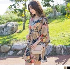 0522新品 高棉量優雅印花抓皺造型七分寬袖設計長版上衣.2色