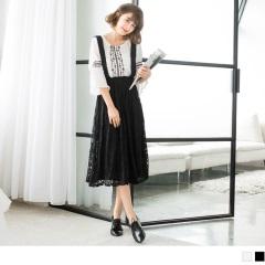 0807新品 素色優雅雕花蕾絲傘襬吊帶裙.2色