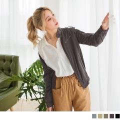 小立領排釦拉鍊造型高含棉軍裝風衣外套.4色