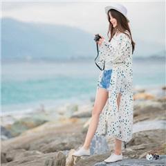 滿版色彩印花寬袖設計側開衩造型寬鬆長版開襟外套.2色