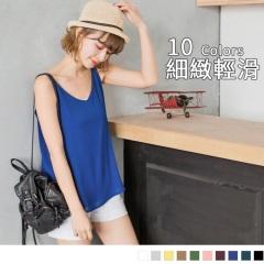 0323新品 雙層素色楊柳雪紡V領細肩帶背心.10色