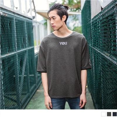 YOU&ME字母圓領寬鬆五分袖上衣.男3色