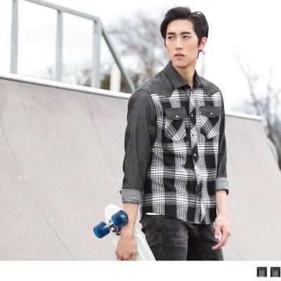 格紋配色設計口袋長袖襯衫.男2色