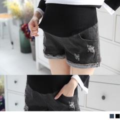 【百搭單品♥現折50】刷破不修邊反摺牛仔孕婦短褲.2色