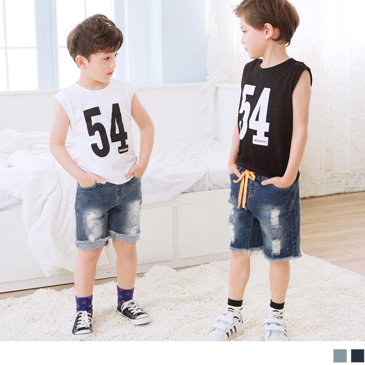 潑漆刷破不修邊造型鬆緊牛仔短褲‧童2色