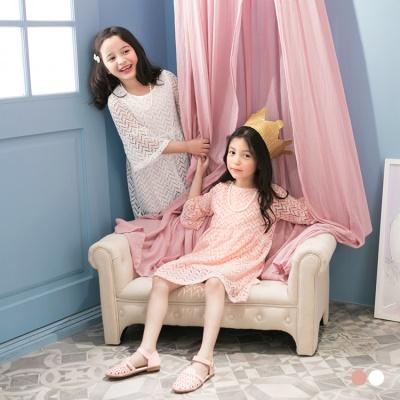 附項鍊質感鏤空織紋喇叭袖洋裝‧童2色