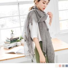 流蘇點綴方格織紋透光感薄圍巾.4色