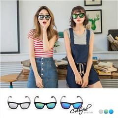 0411新品 亮彩水銀鏡面黑色膠框太陽眼鏡/墨鏡.3色