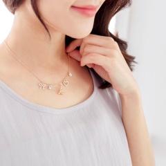0331新品 【特價款】質感金屬鐵塔造型層次水鑽綴飾項鍊
