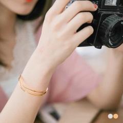 0411新品 波浪鏤空層次金屬手環.2色