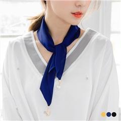 0613新品 珠飾點綴純色雪紡絲巾/領巾.3色
