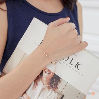 0613新品 【特價款】質感金屬圓珠串飾細鍊手環.2色