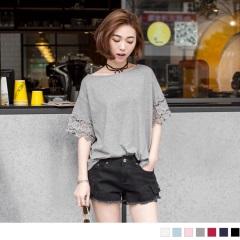 【LINE限定】高棉量素色袖蕾絲拼接圓領上衣.5色