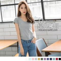0621新品 V領修身多色高含棉合身短袖上衣.8色