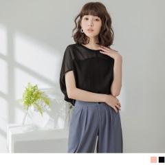 0420新品 素色透膚拼接肩袖造型圓領短袖上衣.2色