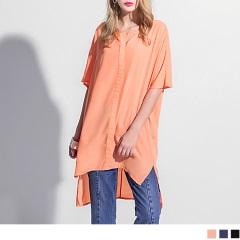 0417新品 雪紡微透膚前短後長半開襟寬鬆長上衣.3色