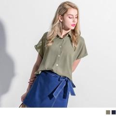 0417新品 素色雪紡後長打褶寬鬆短袖襯衫.2色
