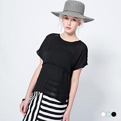 0712新品 細紋質感中線打摺造型圓領寬鬆短袖上衣.3色