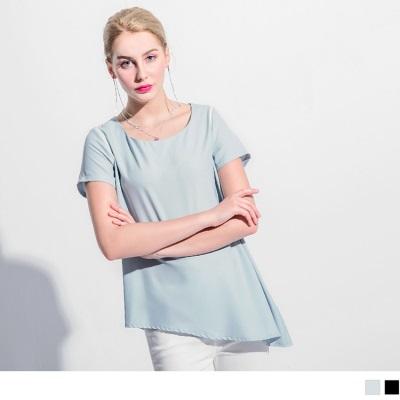 【仲夏狂歡特賣】肩袖配色斜襬造型圓領短袖寬鬆上衣.2色