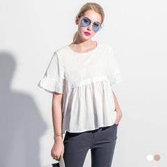0712新品 棉感拼荷葉襬打褶造型圓領短袖上衣.2色