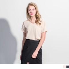 0417新品 垂墜感壓紋鏤空領造型短袖上衣.2色